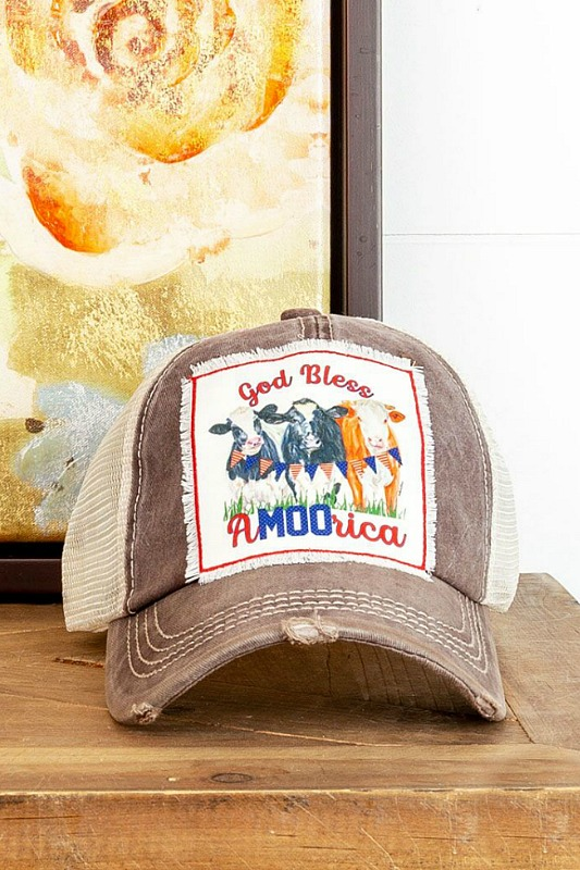 God Bless A-MOO-Rica Baseball Hat - Brown