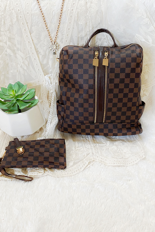 The Luxe Life Brown Checkered Backpack