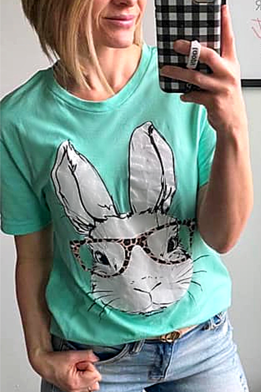 Diva Bunny in Leopard Glasses T Shirt