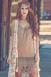 Tiered Lace Dress Extender - Camel