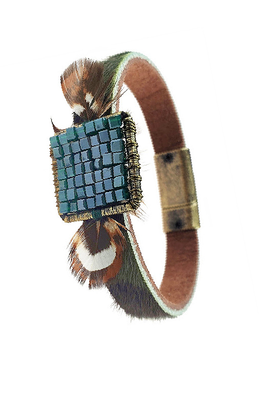 Camo and Feathers Magnetic Cuff Bracelet