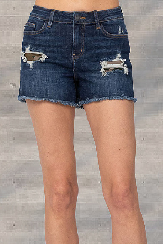 Judy Blue Dark High-Rise Camo Patch Shorts