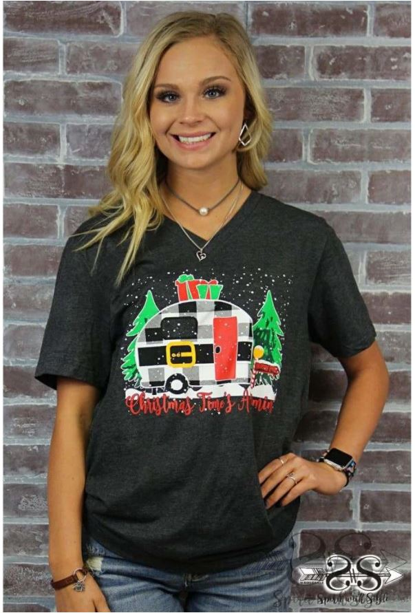Plaid Christmas Camper Graphic Tee
