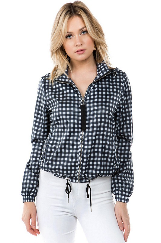 Gingham Windbreaker Jacket