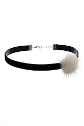 Choker Necklace With Faux Fur - Beige