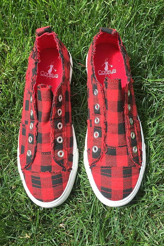 Corkys Babalu Red Plaid Canvas Sneaker