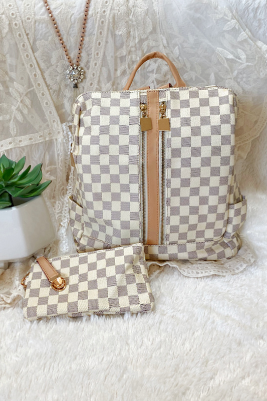 The Luxe Life Cream Checkered Backpack