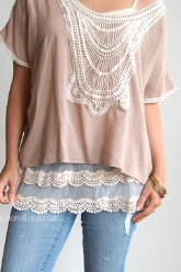 Plus Size Scalloped Lace Top Extender - Ivory