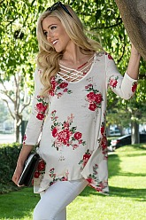 Crisscross Floral Swing Top - Ivory