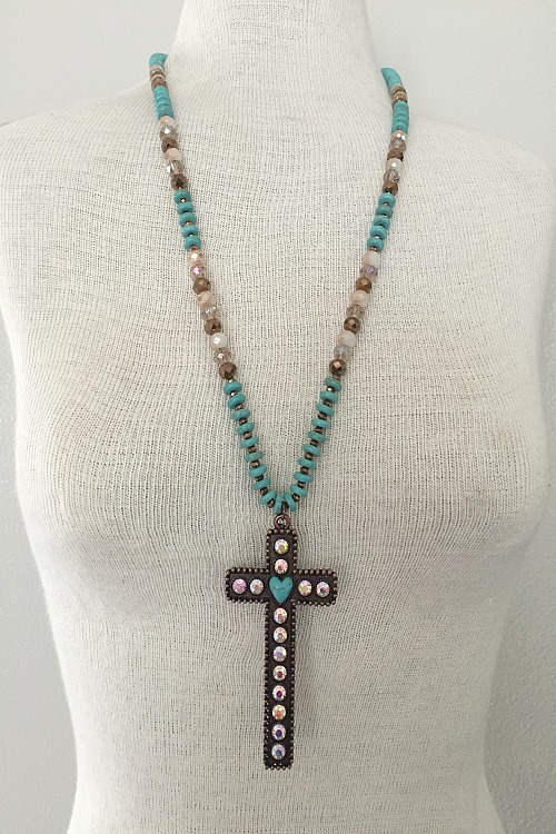 Turquoise and Bling Copper Cross Necklace