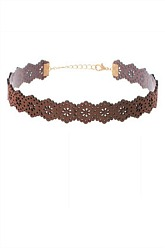 Laser Cut Choker Necklace - Brown