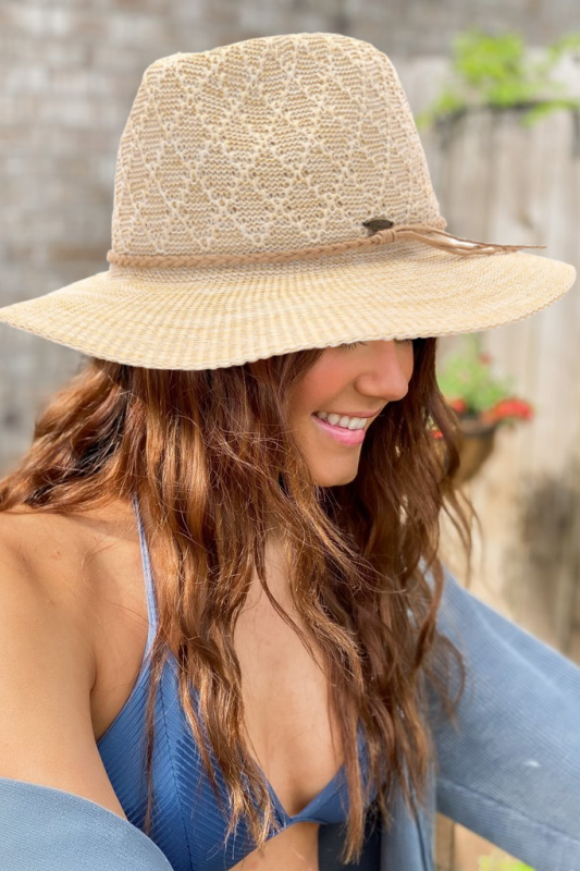 Diamond Pattern Panama Hat with Suede Braided Cord - Beige