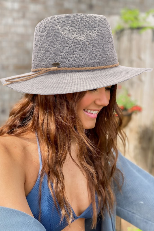 Diamond Pattern Panama Hat with Suede Braided Cord - Lt. Grey