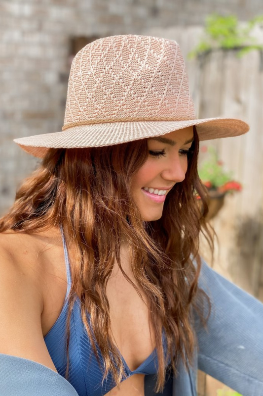 Diamond Pattern Panama Hat with Suede Braided Cord - Sandstone