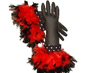 Diva Dish Gloves� Divalicious!-Divalicious! Diva Dish Gloves, unique gift, feather boa, black rubber gloves, designer dish gloves, fancy dish gloves