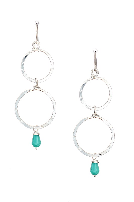 Double Circle With Turquoise Bead Dangle Earrings