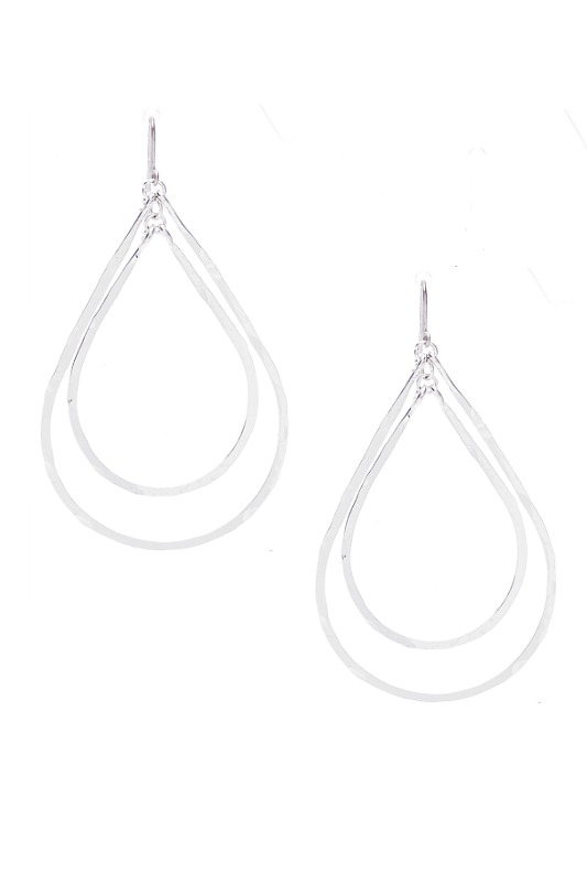 Double Teardrop Silver Earrings