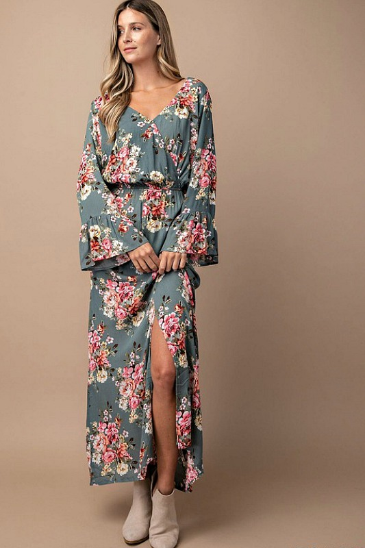 Dusty Sage Floral Dress
