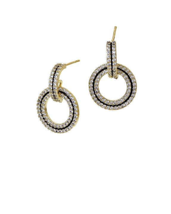 CZ Pave Hoop & Circle Drop Earrings