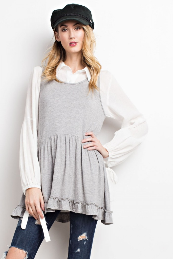 Flowy Ruffled Bottom Tunic Tank - Heather Grey
