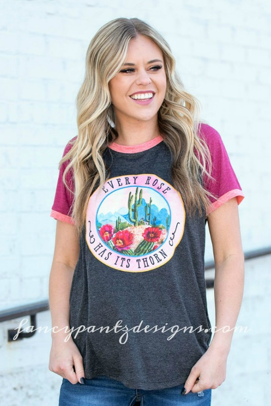 Every Rose Has It's Thorn Tri-Color Ringer Tee