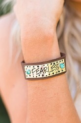 Leather Cuff Bracelet - Fearless