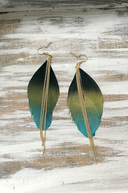 Feather Earrings - Peacock