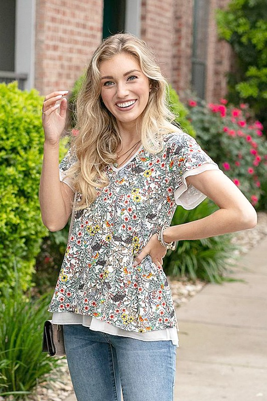 Grace and Lace Floral Tiered Mesh Tee