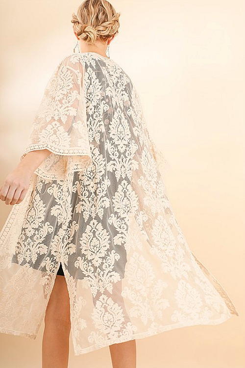 Floral Embroidered Lace Duster - Natural