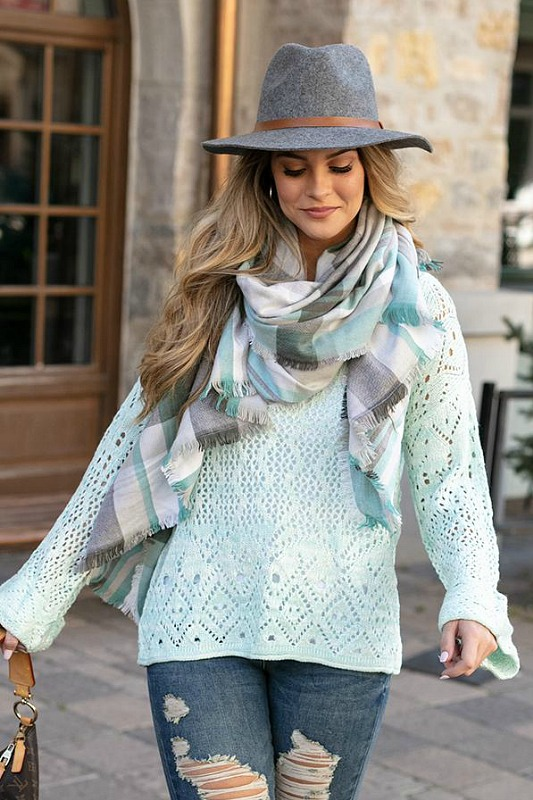 Frost Creek Pointelle Sweater - Icy Mint