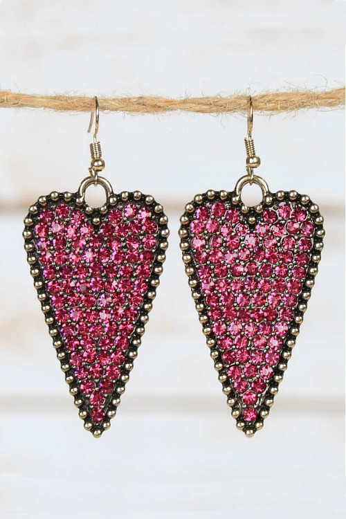 Crystal Heart Earrings - Fuchsia