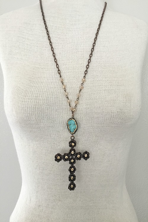 Gilded Rose Cross Necklace