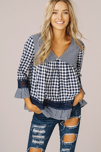 Gingham Lace and Ruffle Top