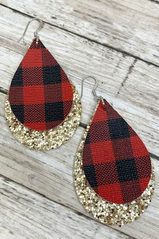 Pour Some Glitter On Me Buffalo Check Earrings - Gold