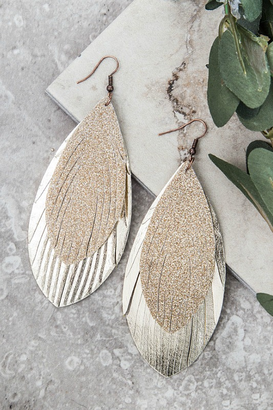 Glitter Feather Earrings - Gold