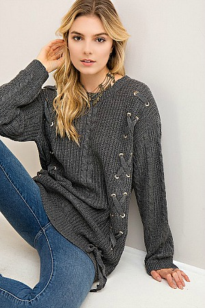 Cozy Up With Me Grey Sweater