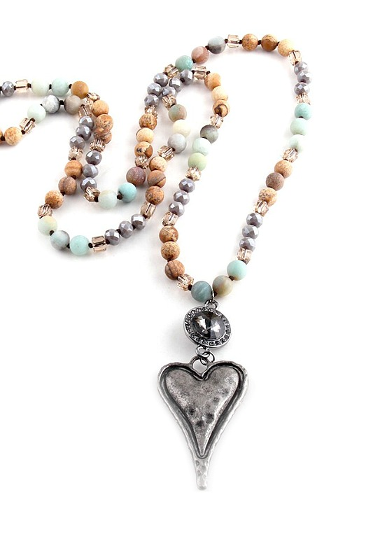 Bohemian Heart Beaded Necklace