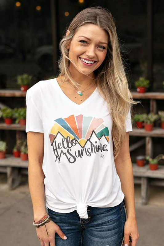 Grace and Lace Hello Sunshine Graphic V-Neck Tee