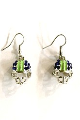 Seahawk Colors Helmet Earrings