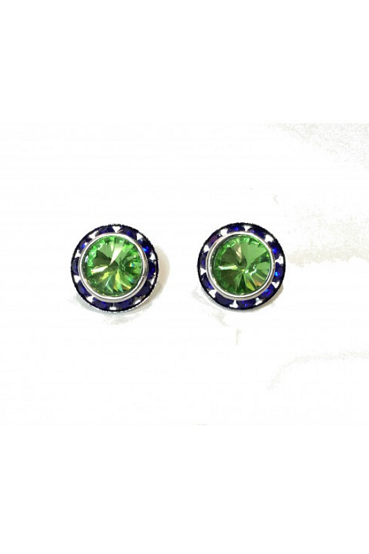 Large Post Green Peridot and Blue Earrings