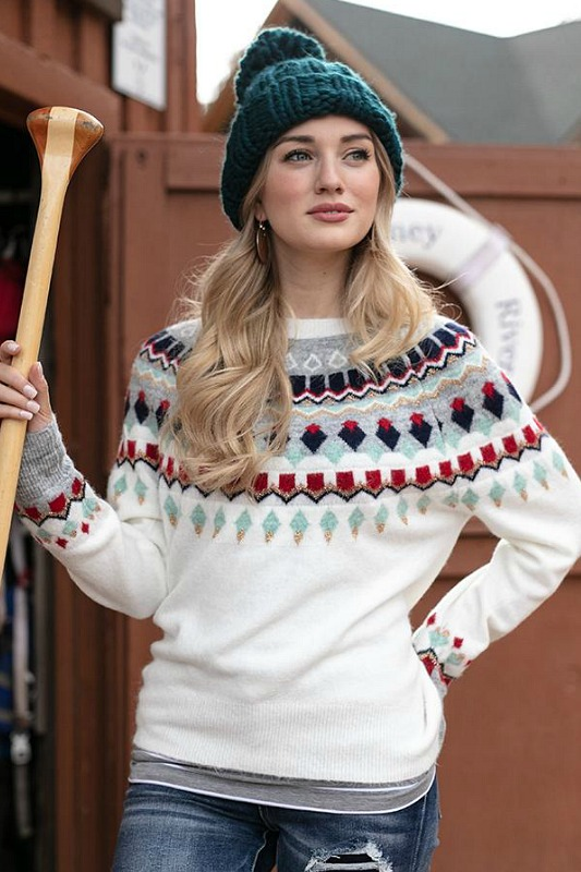 Intarsia Ski Sweater by Grace and Lace