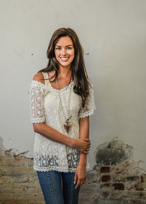 A Little Lacey Accent Top - Ivory