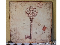 Wall Plaque -Ornate Key Print-metal wall plaque, key print, memo boards