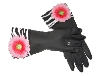 Diva Dish Gloves� Kiss Kiss!-diva dish gloves, designer dish gloves, fancy dish gloves, zebra cuff, pink daisy
