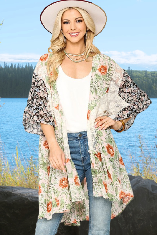 Blushing Over You Floral & Lace Kimono