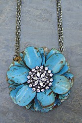 Large Flower Necklace - Blue