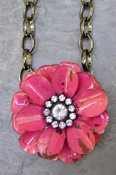 Large Flower Necklace - Fuchsia