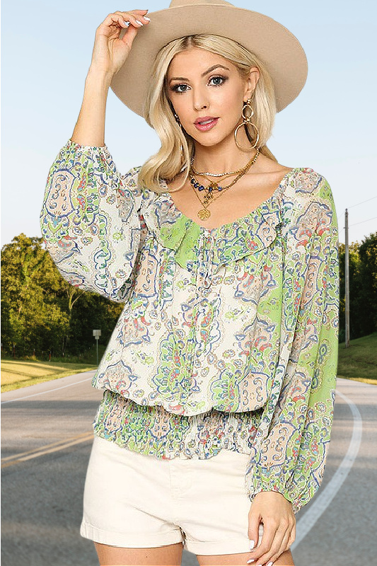 All Yours Lime Green Chiffon Paisley Print Top