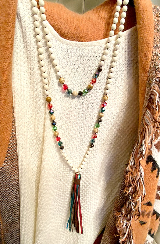 Long Ivory Beaded Necklace With Tassel