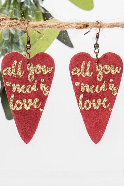 All You Need Is Love Earings - Red